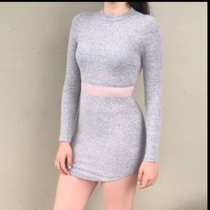 LF rumor boutique ligth gray mesh dress 👗NWT